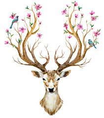 Panel Szklany Boho Watercolor hand drawn deer