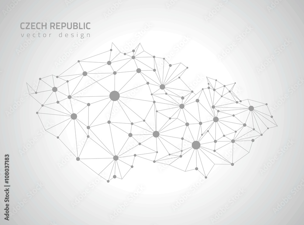 Tschechische Republik grauen Vektor polygonale Karte Foto, Poster ...