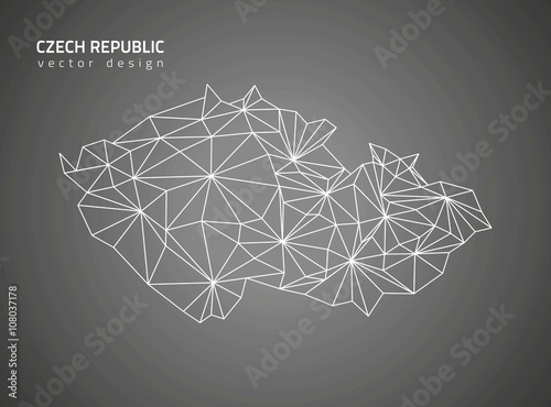 Czech Republic black vector outline map Fototapet