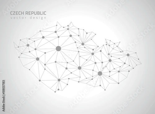 Czech Republic grey vector polygonal map Poster