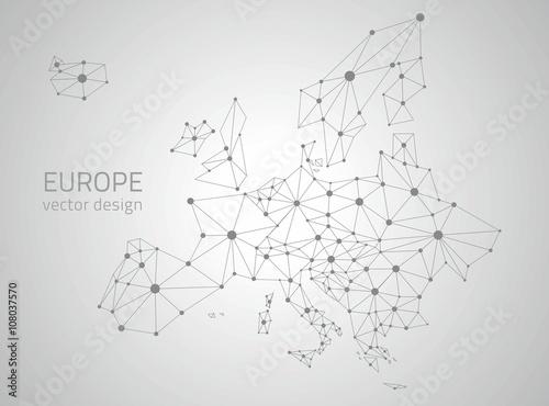 Europe grey vector polygonal map