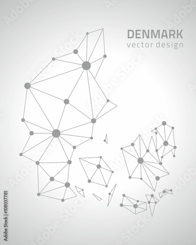 Photo Denmark grey vector outline map