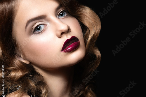 Fotografie, Obraz  Beautiful brunette in Hollywood manner with curls, dark lips