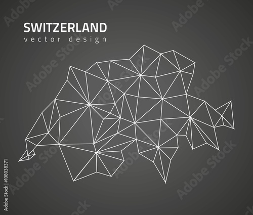 Switzerland black vector polygonal map Wallpaper Mural