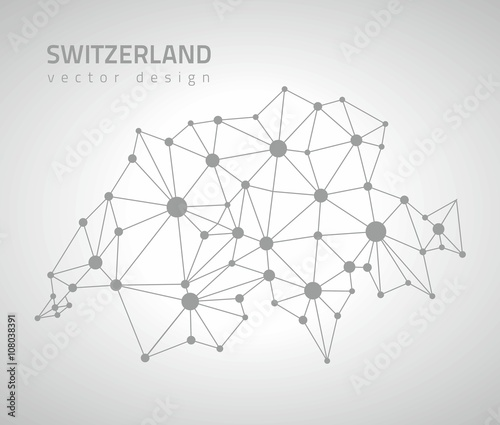 Fotografie, Obraz Switzerland vector outline polygonal map