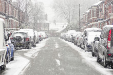 Blurred Out Street In Manchester England The Winter Storm, Heavy Snowfall On A City Street
