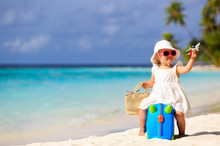 Cute Little Girl Travel On Summer Beach