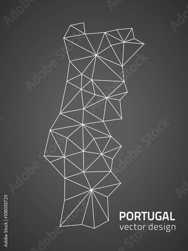 Portugal polygonal vector Europe map Poster