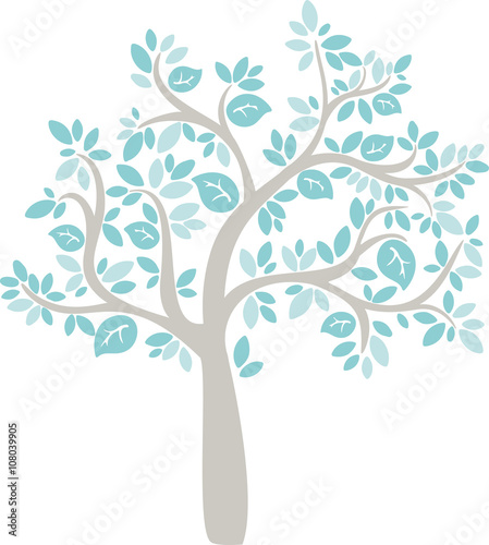 Fototapeta babe blue cartoon vector tree obraz