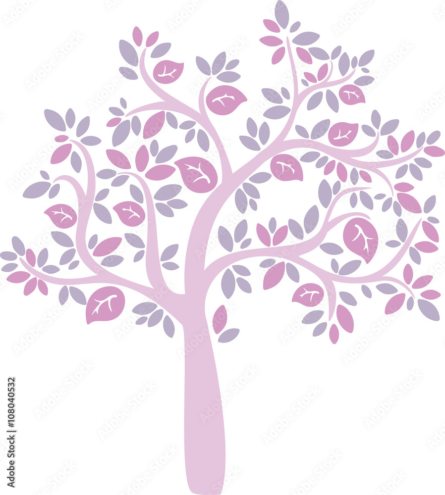 Fototapety, obrazy: pink cartoon vector tree