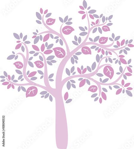 Fototapeta pink cartoon vector tree obraz