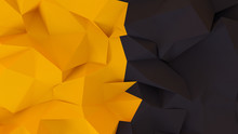 Black 3D Background With Yellow Triangles