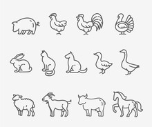 Farm Animals, Thin Line Style,...