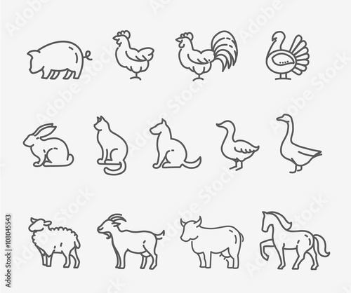 Farm animals, thin line style, flat design Wall mural