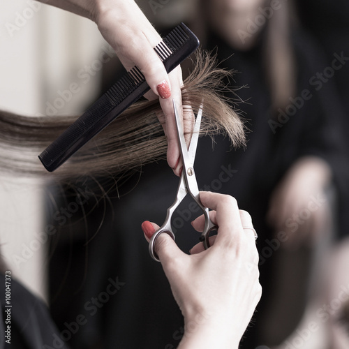 Hairdresser cutting hair Plakat