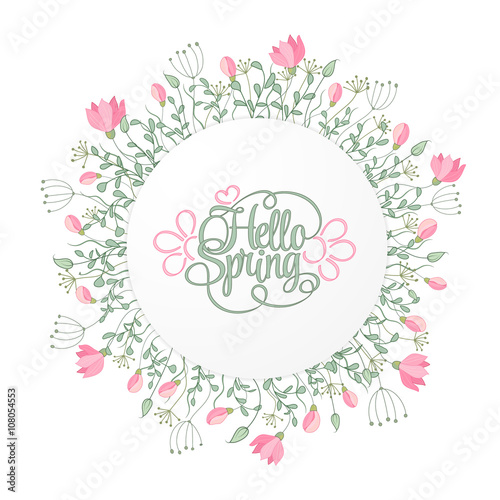 Spring hand draw round frame with gentle pink flowers leaves and spring hand draw round frame with gentle pink flowers leaves and herbs botanical vector stopboris Choice Image