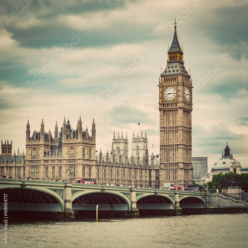 Big Ben, Westminster Bridge on River Thames in London, the UK Wallpaper Mural