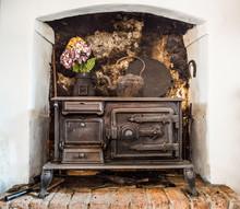 Old Traditional Irish Cast Iron Fire Stove