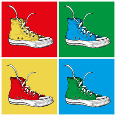 Fototapeta Popart Four Sneakers on a colored background