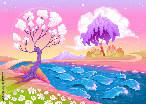 Poster Magic world Astral landscape with trees and river