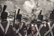 Soldiers Firing The Guns Re-enacting The War In 1812