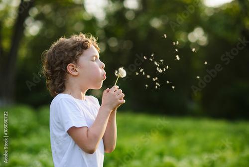 Canvas-taulu Child blowing a dandelion