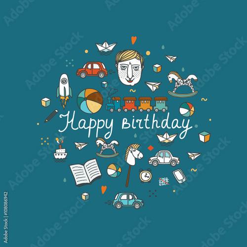 Printed kitchen splashbacks Illustrations Happy Birthday greeting card - vector illustration.
