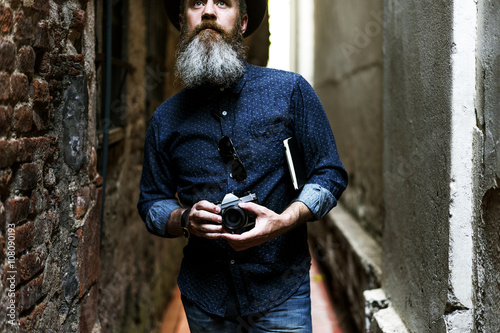 Man Hipster Journay Lifestyle Traveling Concept Wallpaper Mural