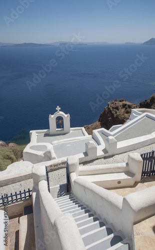 High angle view of Santorini church tower, Cyclades, Greece