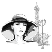 Young Woman Fashion Model In Paris