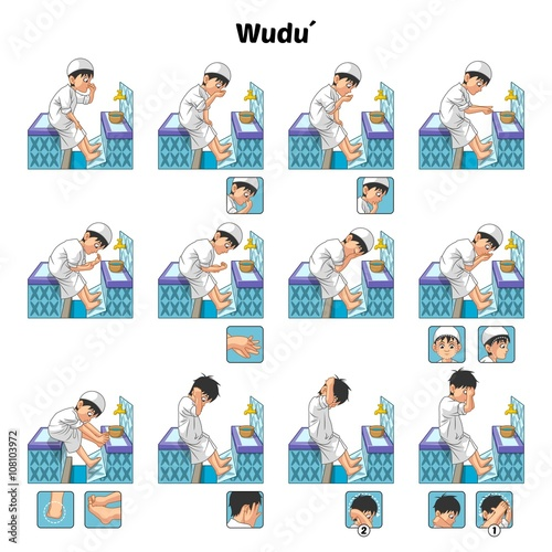Fotografija  Muslim Ablution or Purification Ritual Guide Step by Step Using Water Perform by
