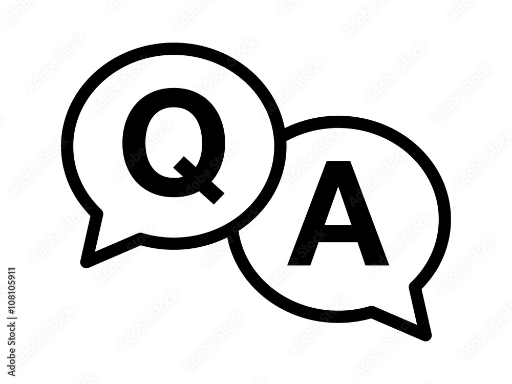 Fototapeta Questions and answers or Q&A speech bubbles Line art icon for apps and websites