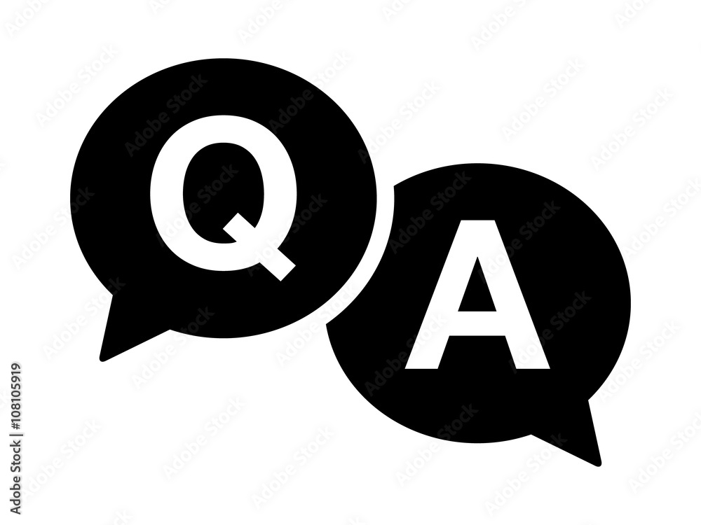 Fototapeta Questions and answers or Q&A speech bubbles flat icon for apps and websites