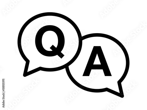 Photo Questions and answers or Q&A speech bubbles Line art icon for apps and websites