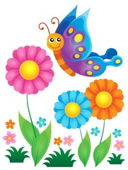 FototapetaFlowers and happy butterfly theme 1