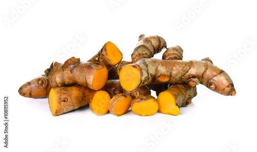 Cadres-photo bureau Condiment Turmeric roots on white background