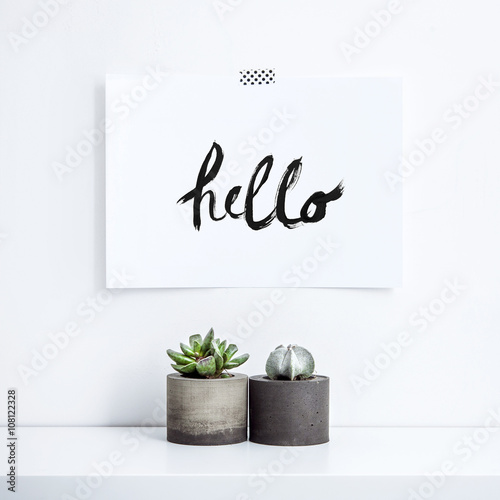 SCANDINAVIAN HOME. Motivational poster hello Wallpaper Mural