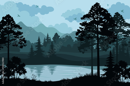 Fotobehang Zwart Evening Forest Landscape, Silhouettes Pines and Fir Trees, Bushes, Grass on the Mountain River Bank and Cloudy Sky with Birds. Vector