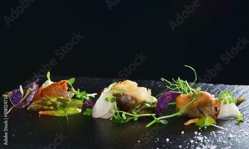 Tuinposter Klaar gerecht Haute cuisine, Gourmet food scallops with asparagus and lardo bacon