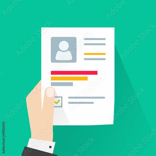 CV application paper sheet, business man hand holding resume ...