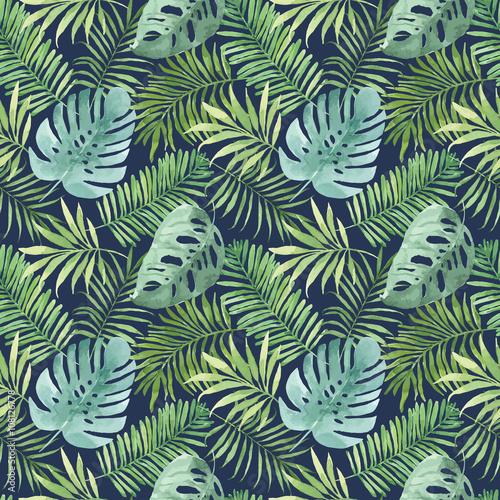 tropikalny-wzor-z-liscmi-akwareli-tlo-z-tropikalnymi-liscmi