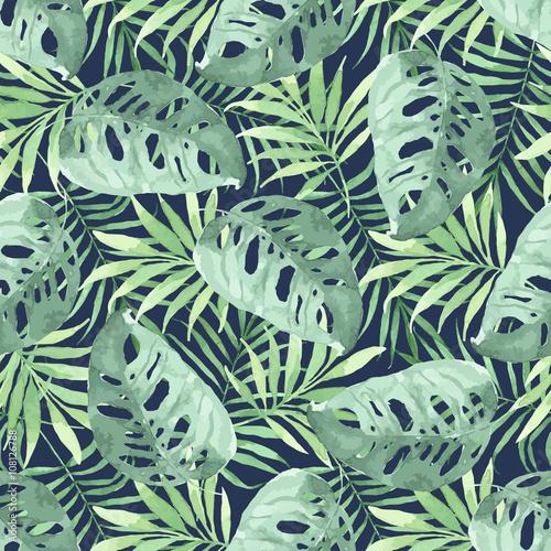 Materiał do szycia Tropikalny wzór z liści. Tle akwarela z tropikalny liści.
