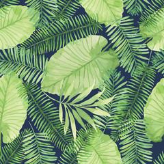 fototapeta akwarela z tropikalnych liści