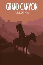 Grand Canyon National Park. Retro Poster.  Illustration