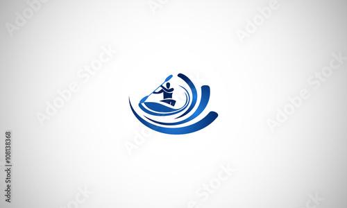 Fotografie, Obraz  kayaker, kayak, kayaking, logo,
