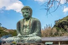 The Great Buddha Of Kamakura Is A Monumental Outdoor Bronze Statue Of Amida Buddha. Kamakura Daibutsu Is Located At The Kotoku-in Temple In Kanagawa Prefecture, Japan.