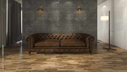 Obraz 3d rendering great leather sofa with parquet floor - fototapety do salonu