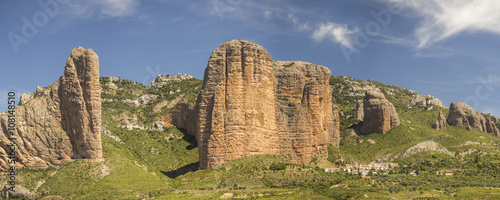 idyllic landscape Panoramic view of the mountains of the Mallos de Riglos in Huesca Aragon Spain