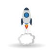 rocket icon over white background, vector illustration