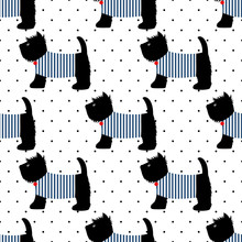 Scottish Terrier In A Sailor T-shirt Seamless Pattern. Cute Dogs On White Polka Dots Background. Child Drawing Style Puppy Background. French Style Dressed Dog With Red Medal And Striped Frock.
